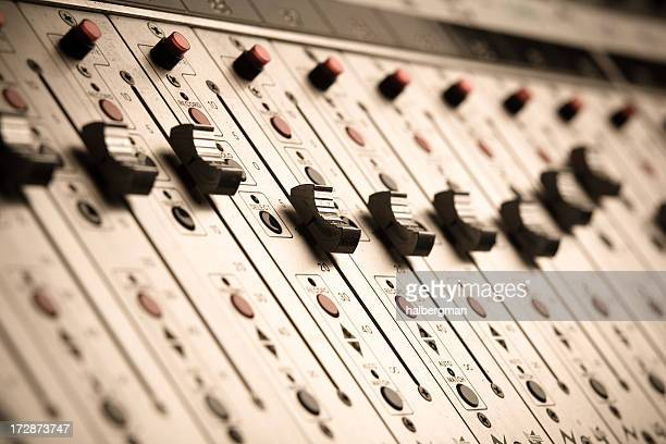 bright vertical close up of audio sliders - rap stock pictures, royalty-free photos & images
