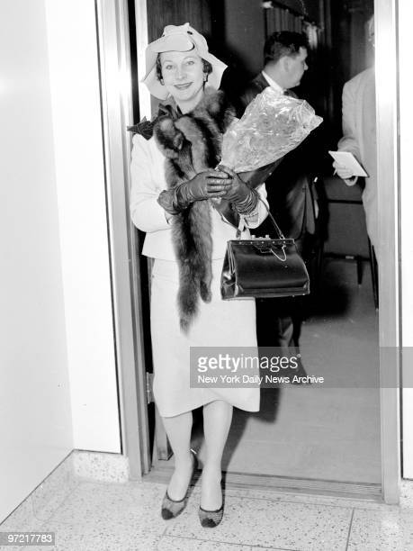A bright Vivien Leigh arrives at International Airport from London where she discussed a divorce with her husband actor Sir Laurence Olivier Asked...