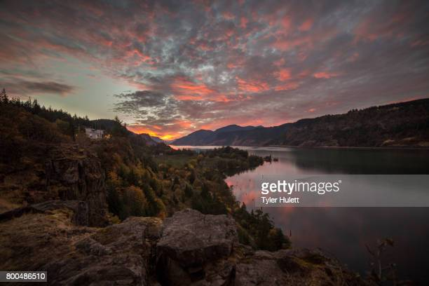 bright wide sunset in the columbia gorge - hood river valley stock photos and pictures