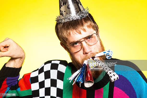 bright yellow colorful party nerd man with glasses - ugly face stock photos and pictures