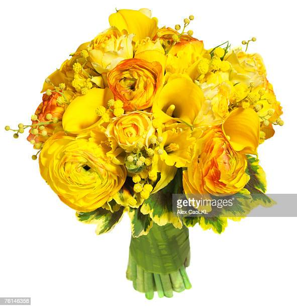 Bright yellow floral bouquet against white background