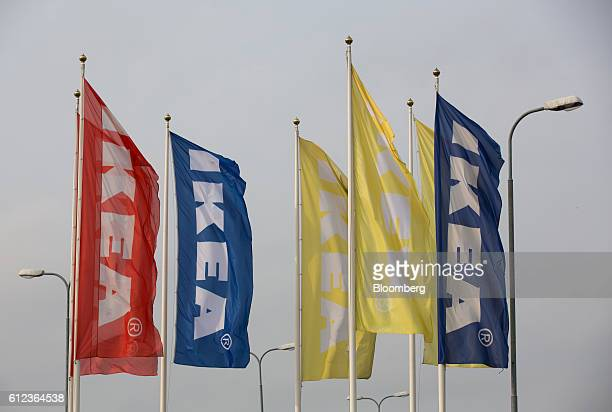 Brightly colored Ikea branded banners fly outside the Ikea AB distribution center in Yesipovo village near Moscow on Monday Oct 3 2016 Ikea's Russia...