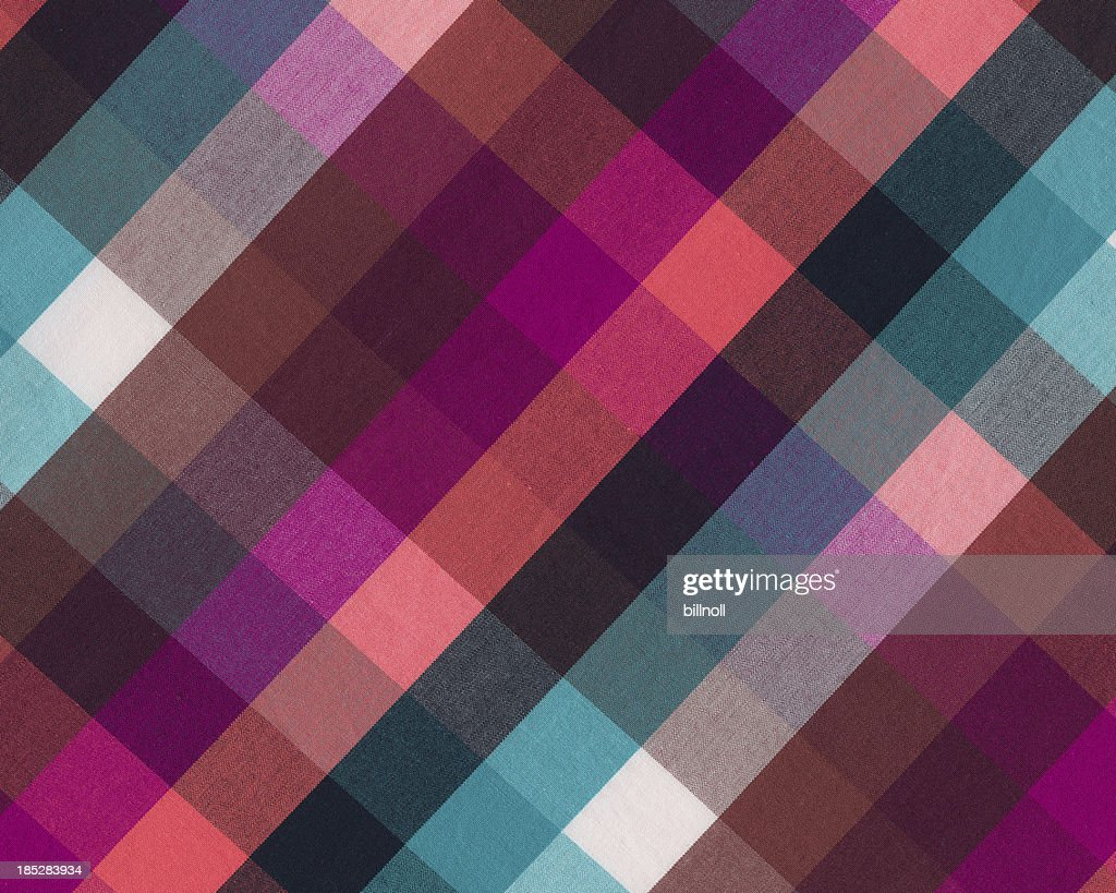 brightly colored plaid woven fabric : Stock Photo