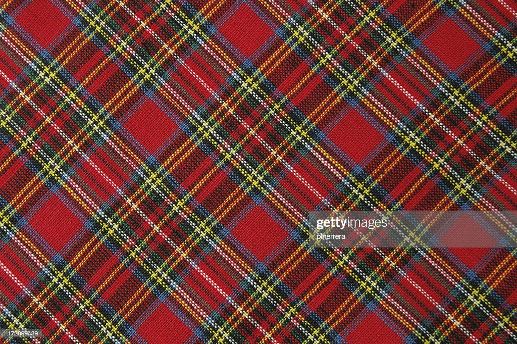 Brightly Colored Red Plaid Fabric Shot Diagonally : Stock Photo