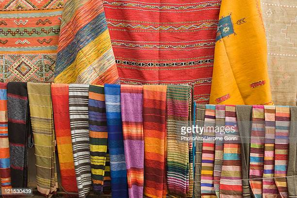 Brightly colored textiles, full frame