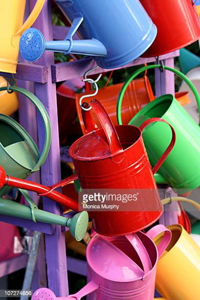 Brightly Colored Watering Cans