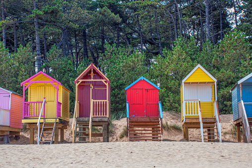 Brightly Coloured Beach Huts Front View - gettyimageskorea
