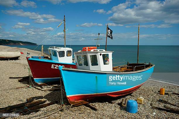 brightly coloured fishing boats - tony howell stock pictures, royalty-free photos & images