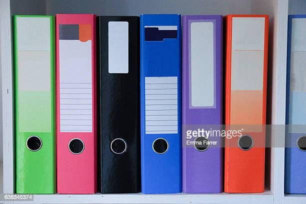 Brightly coloured folders