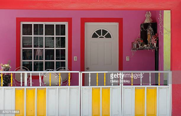 Brightly coloured home on Holbox Island