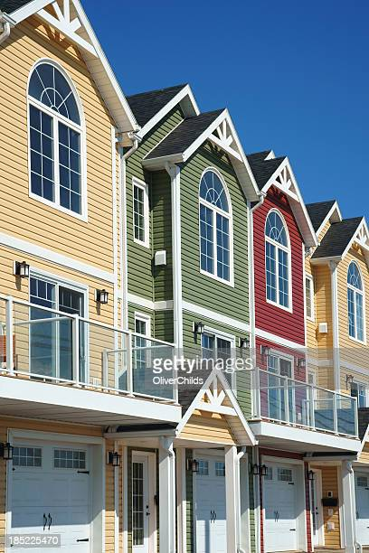 Brightly coloured town houses