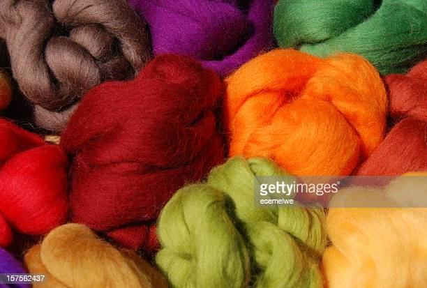 Brightly dyed new wool in a variety of colors