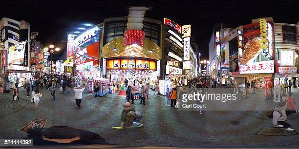 Brightly lit signs advertise businesses on April 23 2016 in the Dotonbori district of Osaka Japan The lively streets running along the Dontonbori...