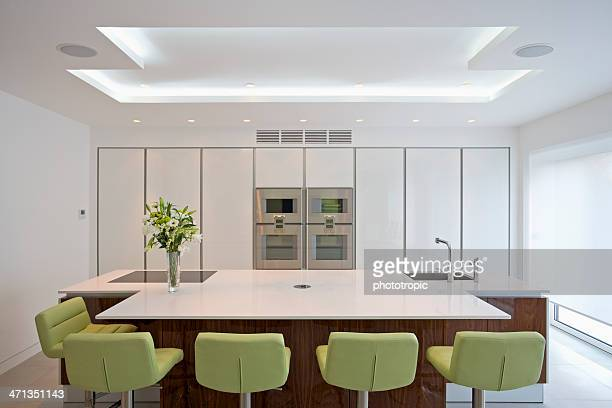A brightly lit spacious modern kitchen