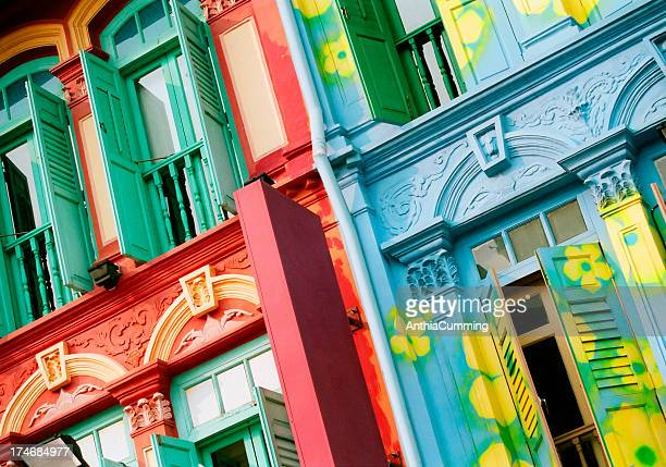 Brightly painted and decorated buildings in Singapore