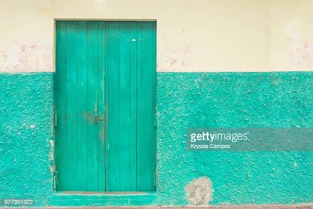 Brightly painted colonial doorway in the town of Granada in Nicaragua