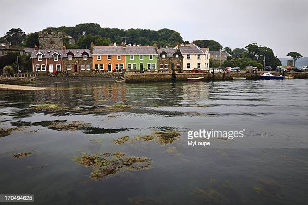 Brightly painted cottages at Strangford harbour County Down Northern Ireland United Kingdom
