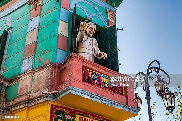 Brightly painted facade detail, La Boca, Buenos Aires