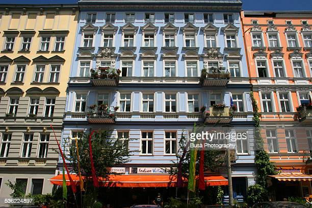 Brightly painted facades of buildings in Berlin