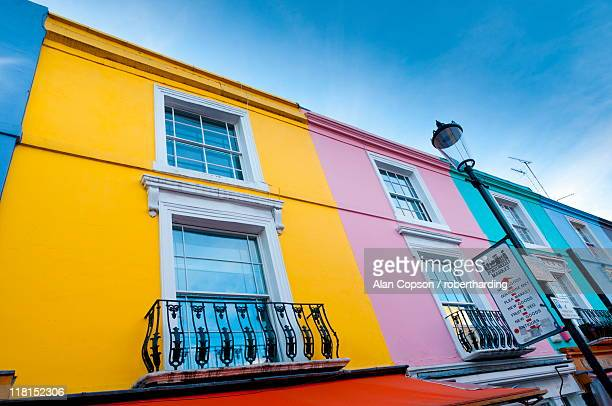 Brightly painted houses, Portobello Road, Notting Hill, London, England, United Kingdom, Europe