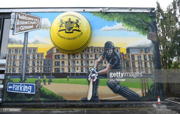 Brightly painted mural pictured on the buildings in the ground ahead of the T20 Vitality Blast Quarter Final match between Gloucestershire and...
