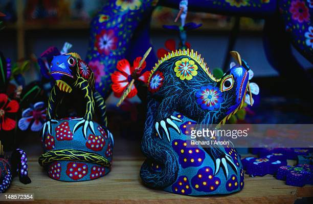 brightly painted wooden animals known as alebrijes - san martin tilcajete, oaxaca - alebrije stock pictures, royalty-free photos & images