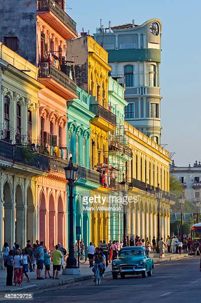Brightly-painted buildings in Havana.