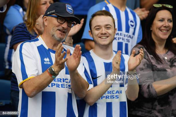 Brighton and Hove Albion fans looks on prior to the Premier League match between Brighton and Hove Albion and West Bromwich Albion at Amex Stadium on...