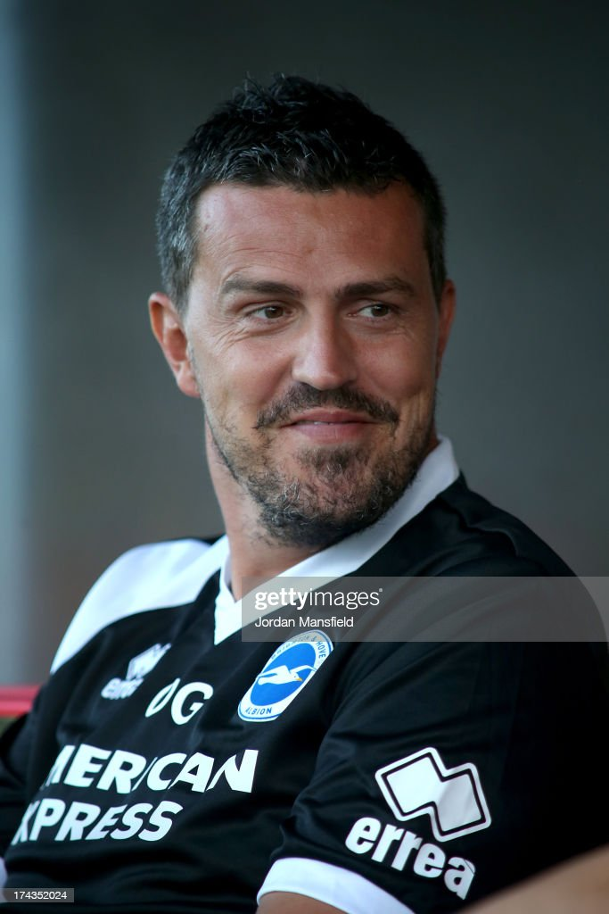 Brighton and Hove Albion manager Oscar Garcia looks on ahead of the pre-season friendly against Crawley Town FC at Broadfield Stadium on July 24, 2013 in Crawley, West Sussex.