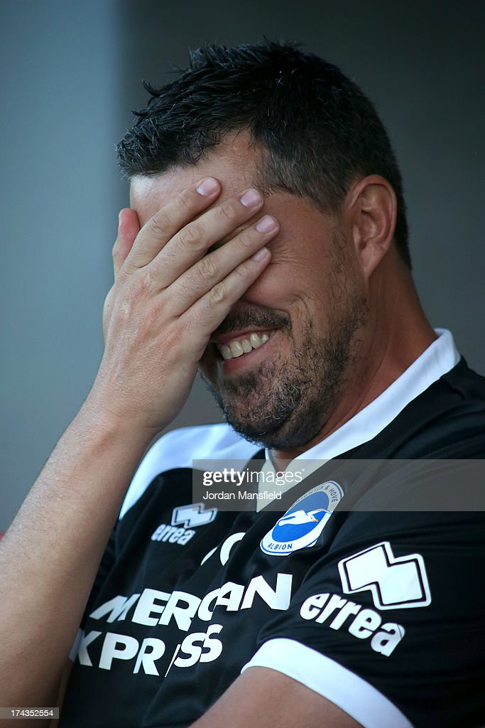 Brighton and Hove Albion manager Oscar Garcia reacts ahead of the pre-season friendly against Crawley Town FC at Broadfield Stadium on July 24, 2013 in Crawley, West Sussex.