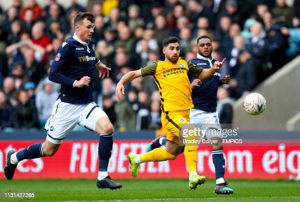 Brighton and Hove Albion's Alireza Jahanbakhsh in action with Millwall's Jake Cooper Millwall v Brighton and Hove Albion FA Cup Quarter Final The Den