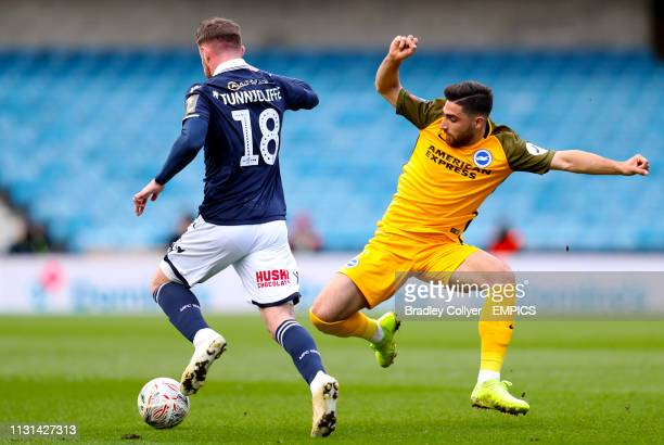 Brighton and Hove Albion's Alireza Jahanbakhsh in action with Millwall's Ryan Tunnicliffe Millwall v Brighton and Hove Albion FA Cup Quarter Final...