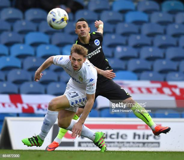 Brighton and Hove Albion's Beram Kayal battles with Leeds United's Charlie Taylor during the Sky Bet Championship match at Elland Road Leeds