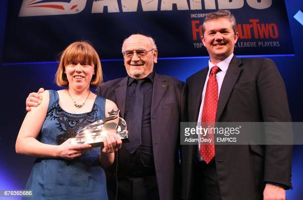 Brighton and Hove Albion's Disability Football Development Manager Teresa Sanders and Community Scheme Manager Dick Knight recieve the award for The...