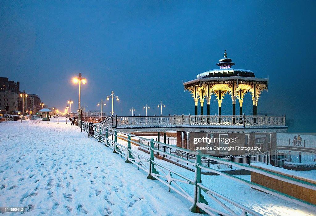Brighton bandstand in snow : Stock Photo