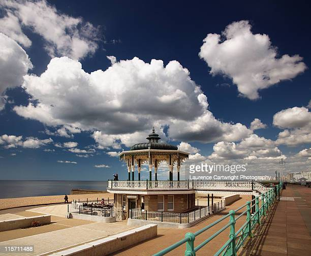 brighton bandstand under clouds - hove stock pictures, royalty-free photos & images