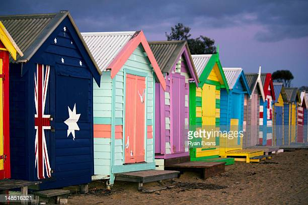 Brighton bathing boxes at dusk, Dendy Street Beach.