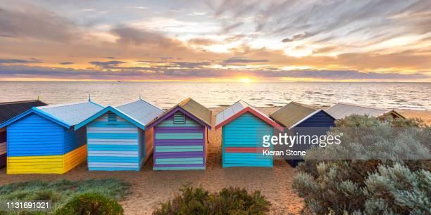 brighton bathing boxes - melbourne - melbourne australia stock pictures, royalty-free photos & images