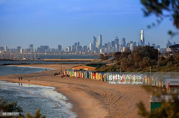 Brighton bathing boxes Melbourne skyline in Summer