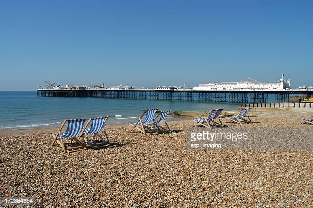 brighton beach and palace pier - brighton beach england stock pictures, royalty-free photos & images