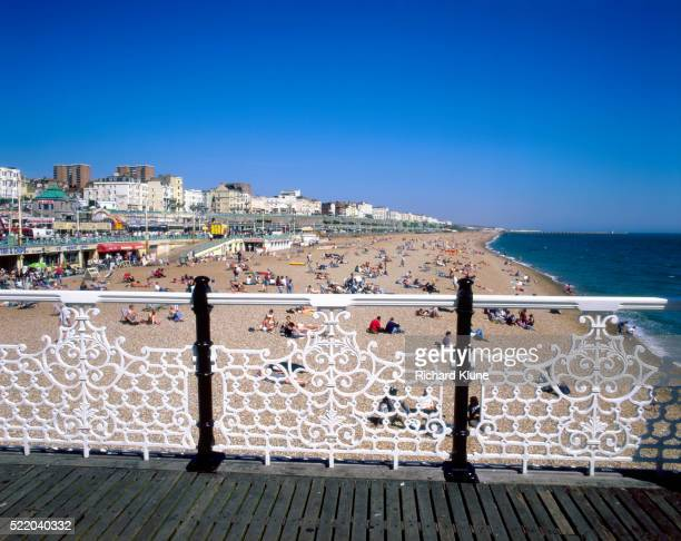 brighton beach from palace pier - railings stock pictures, royalty-free photos & images