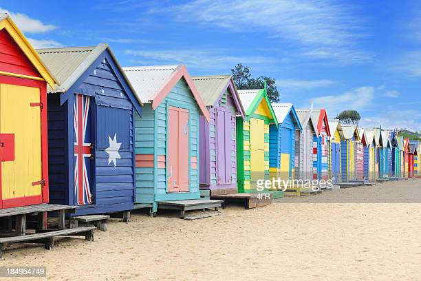 brighton beach huts, australia (xxxl) - hut stock pictures, royalty-free photos & images
