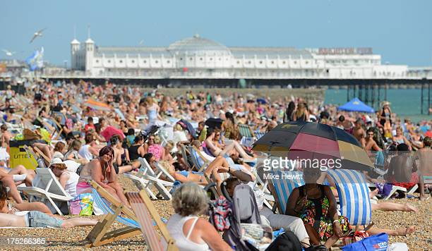 Brighton beach is packed during the return of the heatwave on August 1 2013 in Brighton England A heatwave has returned to much of the country with...