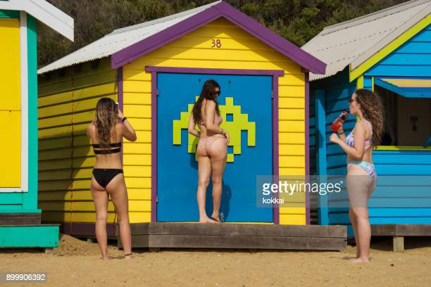 brighton beach - taking a belfie - beach house stock pictures, royalty-free photos & images
