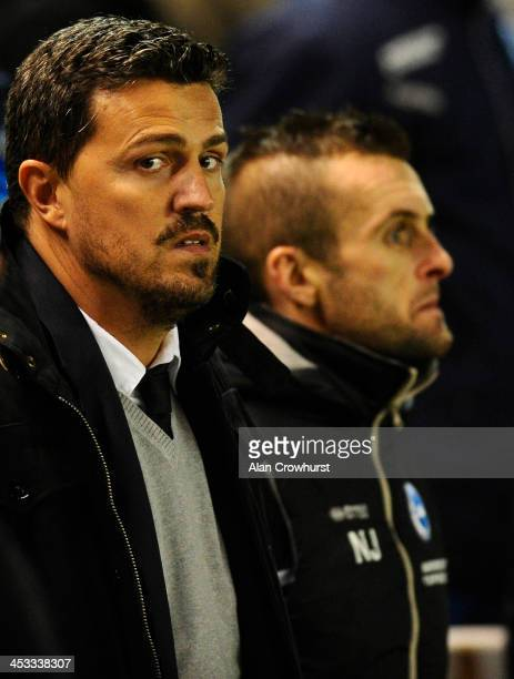 Brighton coach Oscar Garcia during the Sky Bet Championship match between Brighton Hove Albion and Barnsley at The Amex Stadium on December 03 2013...