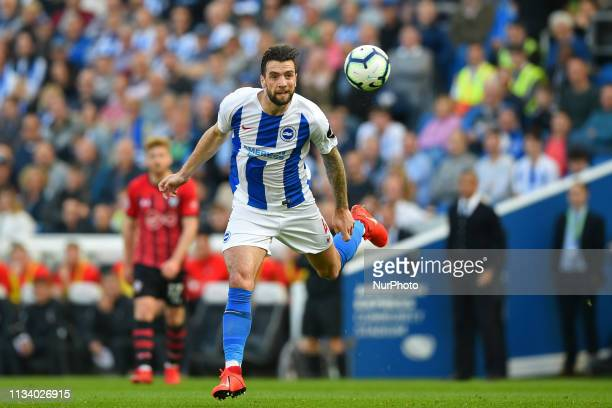 Brighton defender Shane Duffy clears his defence during the Premier League match between Brighton and Hove Albion and Southampton at the American...