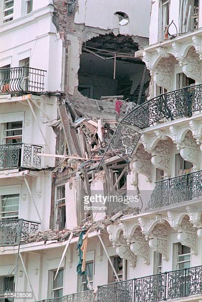 Brighton, England: Exterior of the Grand Hotel here, October 12th, after a powerful IRA bomb aimed for Prime Minister Margaret Thatcher and her...