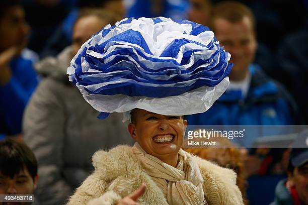 Brighton fan weard a flamboyant hat during the Sky Bet Championship match between Brighton Hove Albion and Bristol City at Amex Stadium on October 20...
