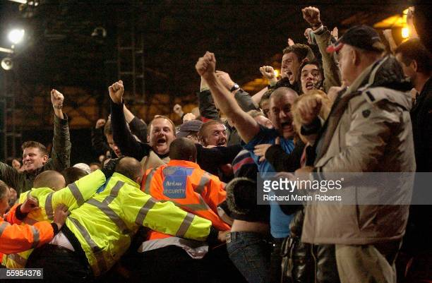 Brighton fans celebrate their teams goal during the CocaCola Championship match between Crystal Palace and Brighton and Hove Albion at Selhurst Park...