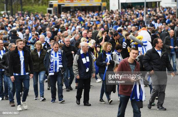 Brighton fans gather outside the ground prior to the Sky Bet Championship match between Brighton and Hove Albion and Wigan Athletic at Amex Stadium...